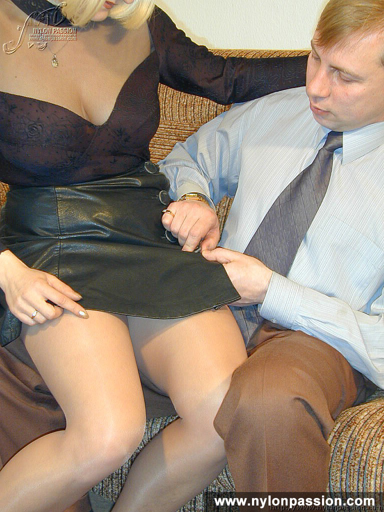 Pantyhosed Mama Blonde Blowjob And Have Sex