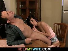 hot-brunette-wife-cuckolds-old-husband