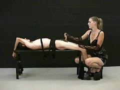 blonde mistress jerks off her tied up slave and demands for WWW.ONSEXO.COM