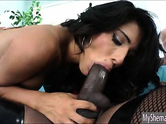 Three superb shemales blowjob and anal