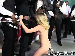 Interracial Hot Blondie Sucks Group Cocks