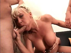 Super Hot Mature Blonde Slut With Fantastic Big Tits Sucks