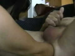wife-in-mask-fucks-hubbys-ass-with-arm-while-he-jerks-off