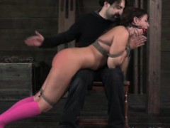 gagged-sub-put-across-doms-knee-and-spanked