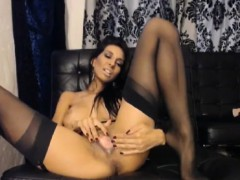 Busty Babe Strips And Penetrates Her Tight Shaved Pussy