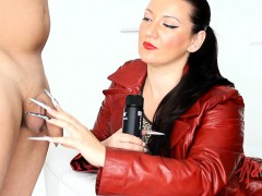 kinkydomina-red-leather-jacket-handjob-tease
