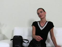 Slim Czech Amateur Toying On The Couch On Casting