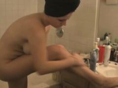 shaving-before-the-shower-time