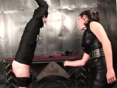 tied-up-male-sex-slave-gets-clipped-and-spanked
