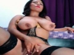 Curvy Brunette Rides Dildo Showin Her Big Ass