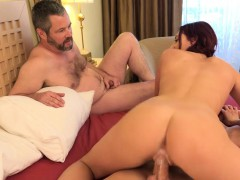 redhead-wife-has-husband-watch-as-she-gets-pounded