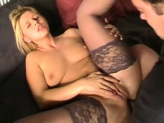 blonde hottie in stockings anal screwing