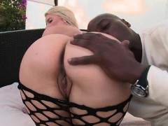 Juicy butt blonde anal fucked by big black dick