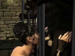 Sexy 3d Cartoon Babe Giving A Werewolf A Blowjob