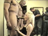 Dirty Blonde Sucks On Many Big Cocks