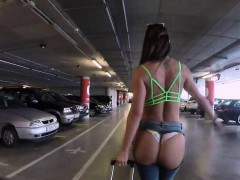 Bubble butt nympho banging in the airport garage