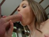 Cute brunette sucks dick and takes a cumshot in her ass