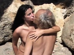 freaky old fart screwing sexy minded young brunette