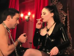 smoking-latex-femdom-plays-with-her-manslave