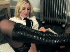 uniformed-femdoms-smother-submissive
