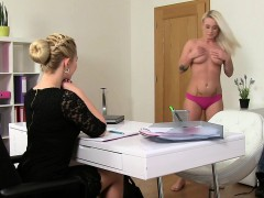 Lesbians oral and strap on action in casting