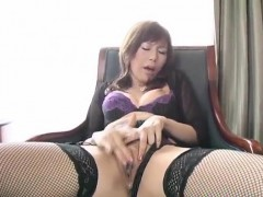 miki-yamashiro-in-stockings-fingers-her-wet-and-dark-fish