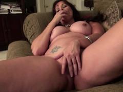 monster titted mature brunette using a monster dildo