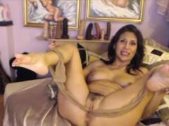 old-kinky-milf-stuffing-pantyhose-into-vagina