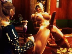 3D anime shemale muscle dancing and bondage