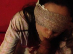 Amateur Lass Sucking Cock Blind-folded