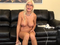Blonde cougar Puma Swede shows off her curves and plays with sex toys