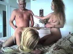 Aged man takes turns knocking one blonde, two awful hookers