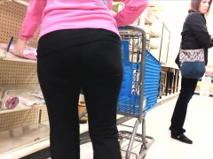 spy cam follows a grandma walking in the store filming her