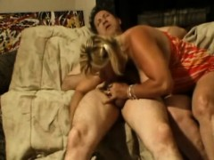 Curvaceous Blonde Has A Hard Pole Banging Her Hairy Twat On The Couch