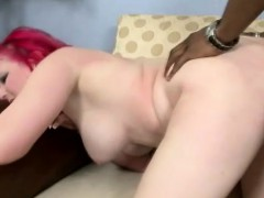Busty and horny white babe fucks a big black dick with great intensity