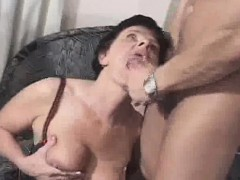 granny gets a mouthful of sperm