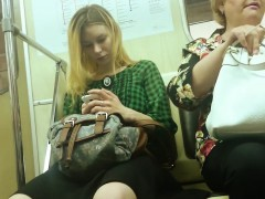 sweet blonde rides the subway and gets her stunning legs fil