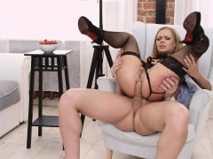 Hot redhead gets her butt filled and gives him head in between