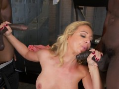 sweet cougar cheri deville gets spit roasted by studs