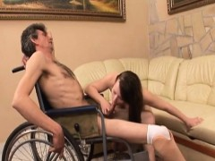 Chubby Brunette Amateur Curing Handicapped Guy