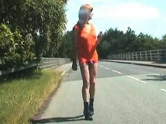 Shameless Crossdresser On The Street