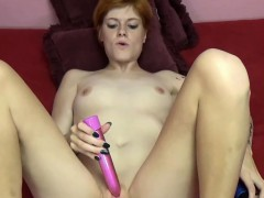 slender coed ava little uses two toys on her hot pussy