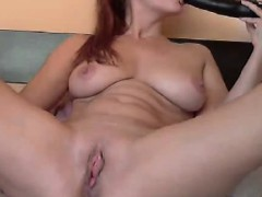 sexy rides a dildo front the webcam