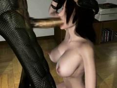 3d Alien Creature Destroys Busty Babe!