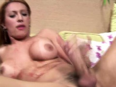 Frisky Latina T-girl With Big Boobs Is Stroking And Cumming