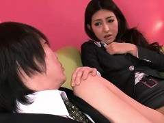 Cute Japanese schoolgirl has her pussy pleasured