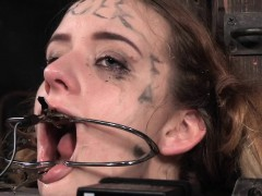 girl sub dominated with open mouth gags