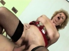 sexy granny gets filled with younger stiff rod