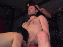 femdom humiliates sub by having guy blow him