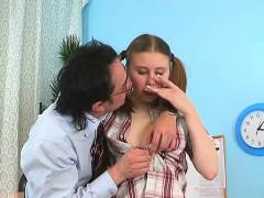 Sweetheart Gives Old Teacher Oral Till She Gets Cumshot